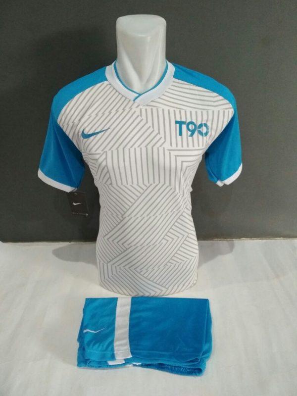 Setelan Futsal Nike T90 Putih-Biru langit
