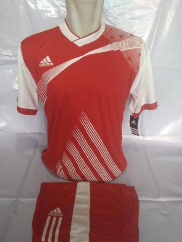Setelan futsal Adidas Strip Miring Merah Putih