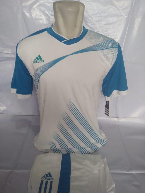 Setelan futsal Adidas Strip Miring Putih Biru