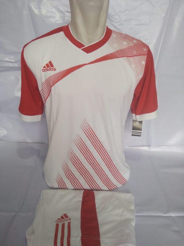 Setelan futsal Adidas Strip Miring Putih Merah